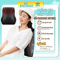 Đệm Gối massage kiêm tựa lưng đa năng, 16 bi, gối massage hồng ngoại phiên bản nâng cấp, massage vai, cổ, gáy, cột sống, chất liệu da pu dễ dàng vệ sinh, cắm trực tiếp