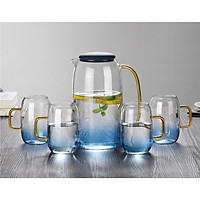 Bình thủy tinh xanh ngọc 1,5L và 4 ly uống nước 280ML