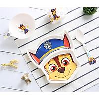 Set 4 món chén, dĩa, muỗng và ly uống nước hình chú chó cứu hộ Dog Paw Patrol 3D màu xanh cho các bé ăn uống - 140P7NWW6633