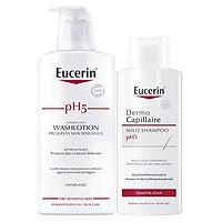 Bộ Sữa Tắm Không Mùi Cho Da Nhạy Cảm Eucerin pH 5 Washlotion (400ml)Và Dầu Gội Cho Da Nhạy Cảm Eucerin pH 5 Shampoo (250ml)