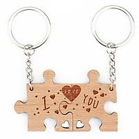 Móc khóa đôi gỗ mảnh ghép tình yêu