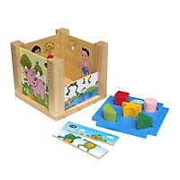 Đồ chơi Hộp xếp hình thả khối đa năng kèm lắp ghép hình học màu sắc hình dạng  Đồ chơi gỗ Việt Nam