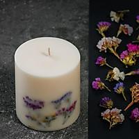 Nến thơm cao cấp với sáp đậu nành và tinh dầu hữu cơ hoa cam, trang trí hoa salem nhiều màu sắc, 500ml