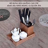 Ống đựng đũa muỗng cao cấp NHATVYWOOD NV5313B - Ống đũa gỗ - Ống cắm đũa nhà hàng, quán ăn.