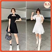 Váy đầm nữ dáng xòe dây ngực KA Closet buộc dây, có 2 màu Đen, Trắng, khóa kéo sau
