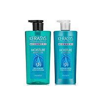 Bộ dầu gội, xả cao cấp Chăm sóc chuyên sâu và dưỡng ẩm sâu cho tóc khô xơ KERASYS ADVANCED AMPOULE MOISTURE 600ml - Hàn Quốc Chính Hãng