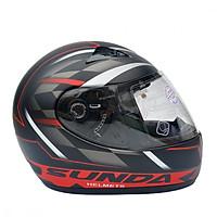 Mũ bảo hiểm fullface Sunda 2000c đen nhám tem đỏ