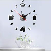 Đồng hồ dán tường 3D trẻ trung Ly cafe (DH88)