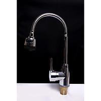 Vòi rửa chén bát 2 đường nước nóng lạnh bằng đồng mạ niken SUNZIN