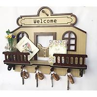 Tủ treo chìa khoá đẹp - Tặng kèm lọ thuỷ tinh xinh xắn để trang trí - móc treo chìa khoá hình ngôi nhà treo tường giúp cất giữ chìa khoá, trang trí căn phòng thêm xinh