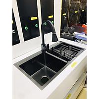 Vòi rửa bát dây rút màu đen nano thân vuông PEDINI 3 chế độ rửa