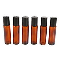 10ml Amber Glass Roll-on Bottles Essential Oil Jar Stainless Steel Roller Ball 2ml Dropper 6Pcs