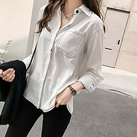 Women Vintage Autumn Shirt  Long Sleeve Button Pocket Solid Color Casual Retro Female Blouses Fall Clothes