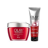 Combo chống lão hóa chuyên sâu Kem dưỡng đêm và Sữa rửa mặt Olay Renegerist