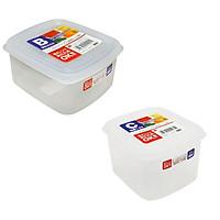 Combo 02 hộp nhựa cao cấp bảo quản thực phẩm Nakaya hình vuông - Hàng nội địa Nhật