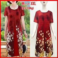 Đầm Suông Size Lớn Kiểu Đầm Cho Mẹ Trung Niên Xẻ Tà In Hoa Cam - THỜI TRANG TRUNG NIÊN ROMI 3288 - ĐỎ - HOA TRẮNG 3301 - M 48-53KG