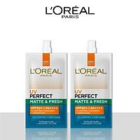Bộ 2 kem chống nắng bảo vệ toàn diện se mịn lỗ chân lông & chống ô nhiễm L'Oreal Paris UV Perfect fresh & Matte SPF50/PA++++