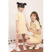 Đầm cho bé gái họa tiết dễ thương xinh xắn  chất liệu thun mát phối màu cổ bẻ GUMAC DKA514 màu Đỏ và Kem ( dành cho bé gái từ 12 tháng đến 7 tuổi)