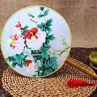 Quạt tròn cổ trang hoa đỏ trắng phong cách cổ trang Trung quốc cổ đại quạt tròn quạt trúc cầm tay cosplay tặng ảnh thiết kế vcone