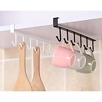 COMBO 2 Móc sắt gắn tủ bếp,tủ quần áo, bàn treo đồ tiện dụng, 6 móc, sơn tĩnh điện ( GIAO MẦU NGẪU NHIÊN )
