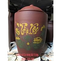 Hũ sành đựng gạo vẽ sen 25kg gốm Gia Hưng Bát Tràng