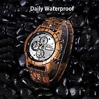 REDEAR Men Watch Wood Case & Band Quartz Movement Time & Calendar Display Luminous Pointer Stopwatch Function Daily
