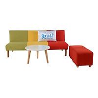 Trọn Bộ Sofa Phòng Khách BizSofa Bed MLF-182 (Sofa giường + Bàn sofa + Ghế đôn)