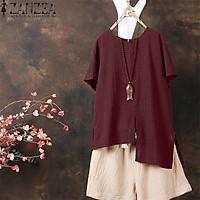 ZANZEA Women Casual Cotton Top T Shirt Tee Check Plus Size Tunic Blouse