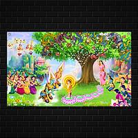 Backdrop Vườn Lâm Tỳ Ni - Mừng Phật Đản Sanh, Chất liệu vải bạt Hiflex dày ngoài trời Kích Thước 2m x 1,5 m
