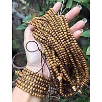 Vòng tay nữ chuỗi hạt 108 cỡ nhỏ tròn 5ly bằng gỗ vàng đen thơm BÁCH - XANH màu tự nhiên