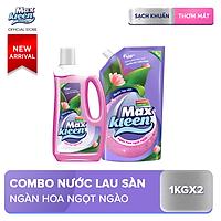 Combo Nước lau sàn Maxkleen Chai + Túi hương Ngàn hoa ngọt ngào 1kg