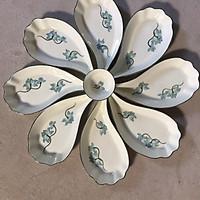 Bộ đĩa cánh hoa vẽ sen xanh gốm sứ Bát Tràng