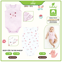 Bộ quần áo body cộc tay Lullaby cho bé gái NH615P Trắng Hồng - Set 2 chiếc