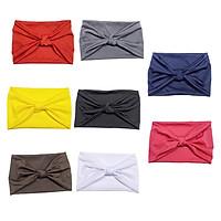 8pcs Extra Wide Headband Soft Stretchy Fabric Yoga Knot Head Wrap 8 Colors