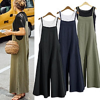 ZANZEA Women Casual Solid Spaghetti Straps Wide Leg Pants Pockets Romper Dungaree Bib Overalls Loose Cotton Linen Jumpsuits Green