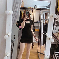 váy body khoét ngực dây rút 2 bên hông chất zip