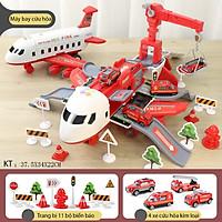 Bộ đồ chơi máy bay có nhạc và đèn KAVY  NO.8808 chủ đề cứu hỏa kèm thang trượt, giàn cẩu, 4 xe cứu hỏa kim loại - màu đỏ