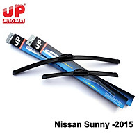 Bộ 2 gạt mưa silicone Nissan Sunny -2015 xương mềm UP Genuine