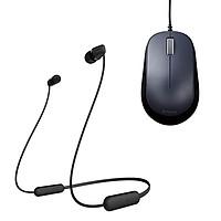 Combo Tai nghe Bluetooth Sony WI-C200 & Chuột BlueLED ELECOM M-Y8UBBK - Hàng chính hãng