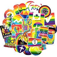 Set 30 sticker LGBT cầu vồng hình dán có ép lụa