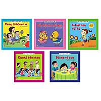 Cả Sách bộ 05 cuốn Giúp bé đọc và nói tốt hơn: Ai làm bạn với tớ - Bố mẹ và con - Cả nhà bên nhau - Cẩn thận khi trời mưa - Chúng tớ luôn vui vẻbên nhau - Cẩn thận khi trời mưa - Chúng tớ luôn vui vẻ (Sách Thiếu Nhi)