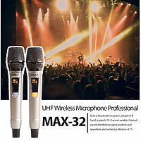 Bộ 2 Micro không dây đa năng Max 32 - Hút âm tốt, chống hú hiệu quả - Màn hình LCD hiển thị tần số - Phù hợp mọi thiết bị - Thiết kế hợp kim chắc chắn, chuyên nghiệp, sang trọng - Hàng nhập khẩu - BH 12 tháng