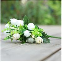 Hoa giả Chùm Hoa Hồng Trà 15 nụ bông Màu trắng trang trí