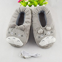 Dép sưởi USB hình Totoro (Xám)