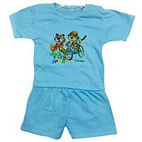 Đồ bộ trẻ em sơ sinh tay ngắn - màu xanh, họa tiết hoạt hình, thun 100% cotton mềm mịn, thoáng mát Shop TiVung chuyên quần áo trẻ em