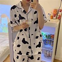 PIJAMA Nữ Bò Sữa Mũi Hồng Cute Đồ Ngủ Set Mặc Nhà