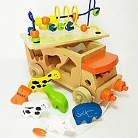Đồ Chơi Gỗ - Xe thả hình thú luồn hạt, đồ chơi kỹ năng cho bé học hỏi toàn diện
