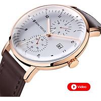 Đồng hồ nam công sở kiểu dáng thời trang Mini Focus, chống nước, có video giới thiệu   Hộp Fullbox   Hàng nhập  khẩu
