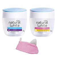 Combo Kem dưỡng Olay dưỡng da trắng hồng ngày đêm Natural White 50g + Tặng Băng đô tai mèo