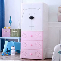 Tủ quần áo trẻ em cửa đôi hình gấu Royalcare 4 tầng màu hồng RC01194T-P